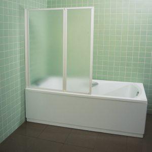 Paravan de cada, 2 elemente, profil alb, sticla transparenta, 105 cm, VS2