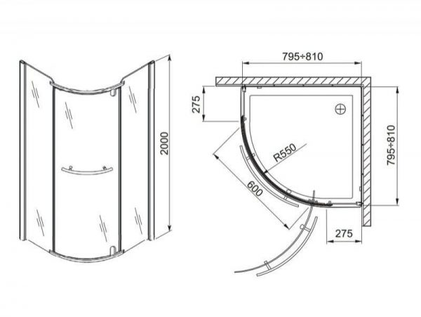 Cabina semirotunda, sticla swing, 90 cm, Aquaform, Puenta Swing