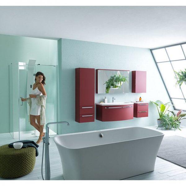 Mobilier pentru lavoar, 110 cm, rosu + Lavoar pentru mobilier, 110 cm, marmura. alb, Adele