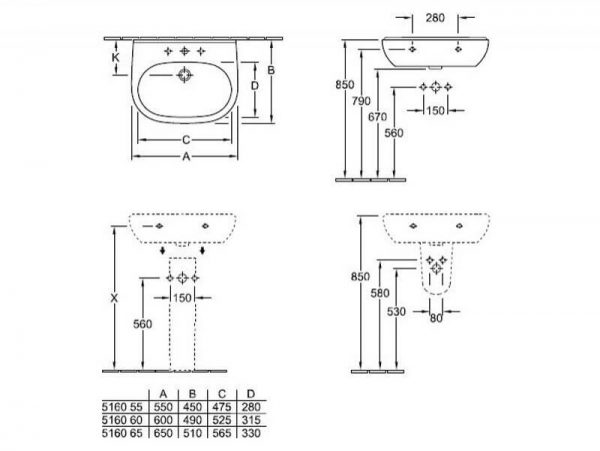 Lavoar, suspendat, 60 cm, O.Novo, Villeroy & Boch