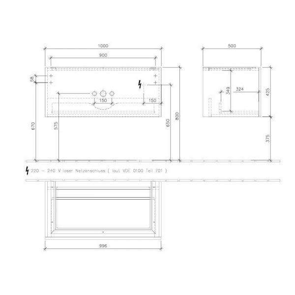 Mobilier suspendat, un sertar, 100 cm, alb lucios, Legato