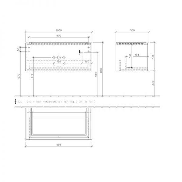 Set mobilier suspendat, un sertar, 100 cm, alb lucios si lavoar pentru mobilier, alb, Legato
