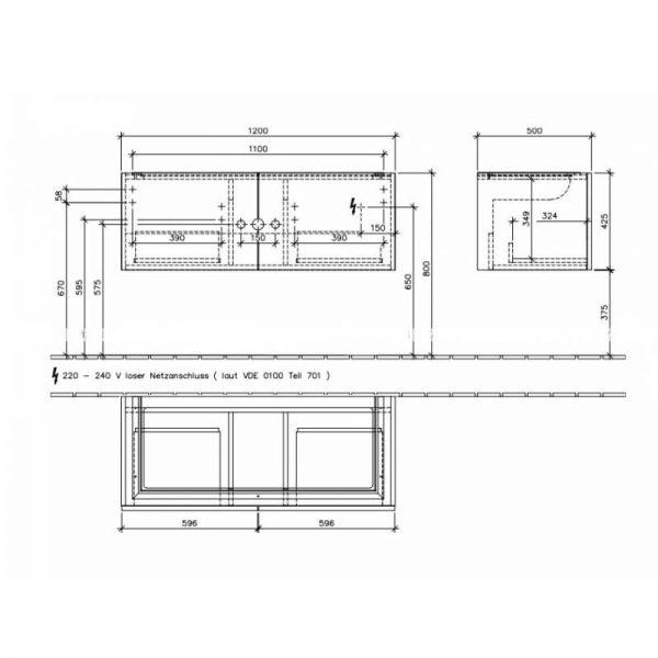 Mobilier suspendat, cu LED, 2 sertare, 120 cm, oak graphite, Legato