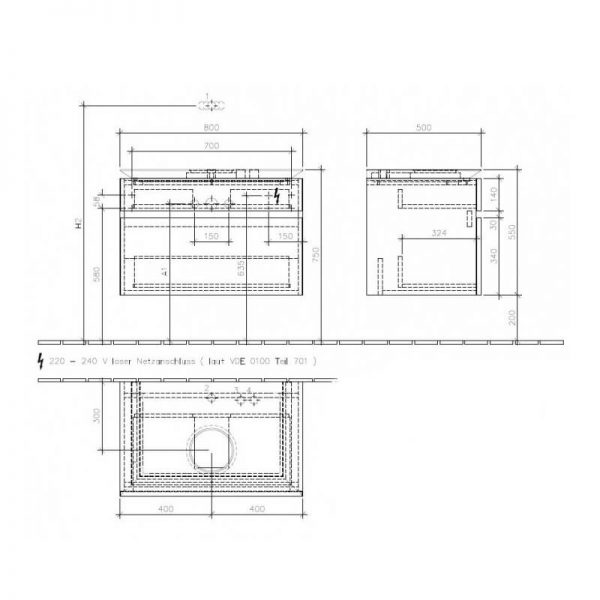 Mobilier suspendat pentru lavoar, 2 sertare, cu iluminare, 80 cm, terra mat, Legato