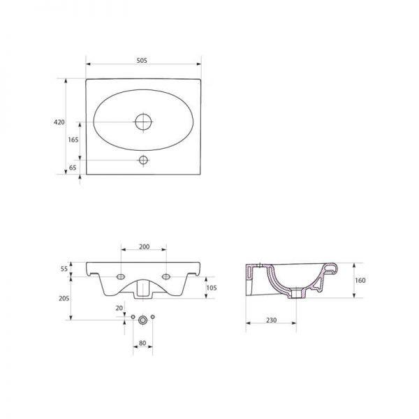 Lavoar pentru mobilier, dreptunghiular, 50 cm, alb, Nature