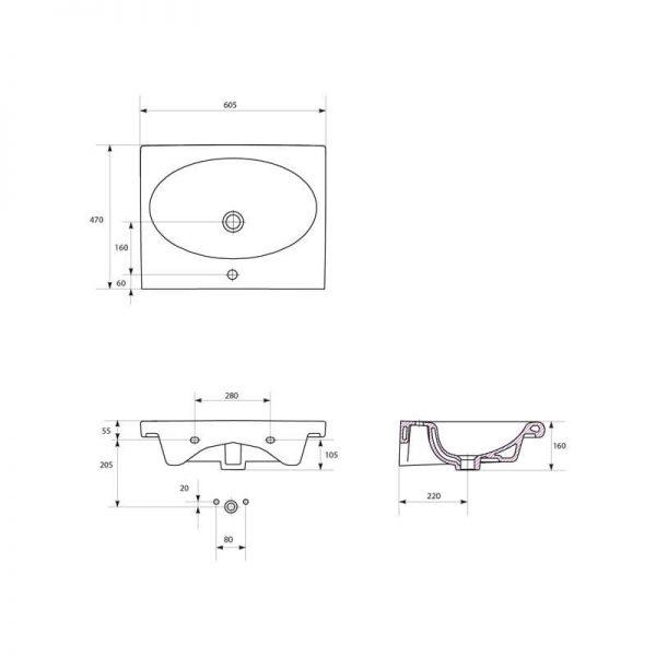 Lavoar pentru mobilier, dreptunghiular, 60 cm, alb, Nature
