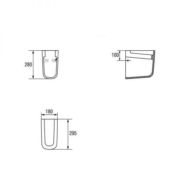 Semipiedestal din portelan, suspendat, alb, Facile