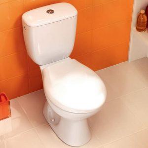 Set vas WC compact cu iesire orizontala, cu rezervor si capac, alb, President