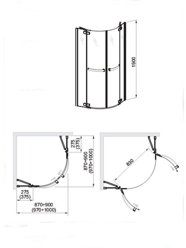 Cabina de dus semirotunda, 90x 190 cm, Aquaform, Polonia, Hd Collection