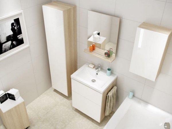 Oglinda extensibila cu raft gri deschis, 50 cm, Cersanit, Smart