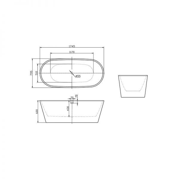 Cada ovala, cu instalatie cu ventil click clack, 175 cm, Karina