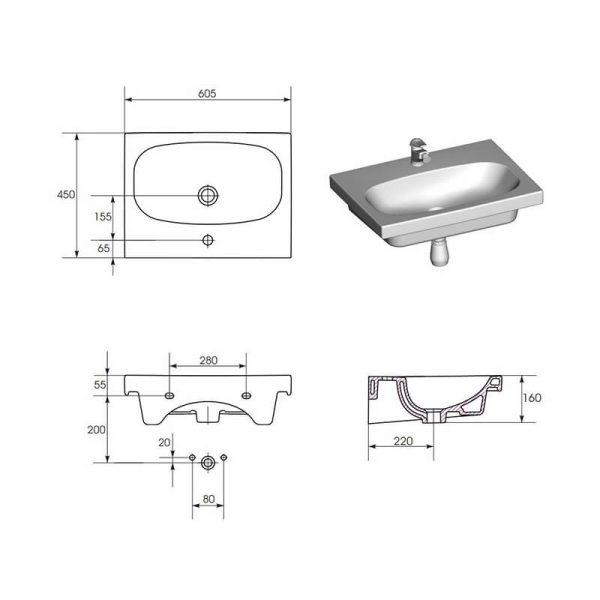 Lavoar pentru mobilier 60 cm, alb, Fare