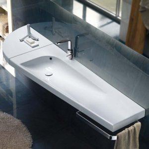 Lavoar trapezoidal, de dreapta, 130 cm, Grandangolo