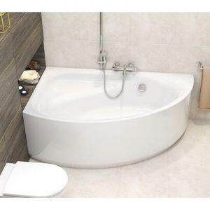Cada baie asimetrica Cersanit Meza 170x100 cm acril, montaj colt stanga