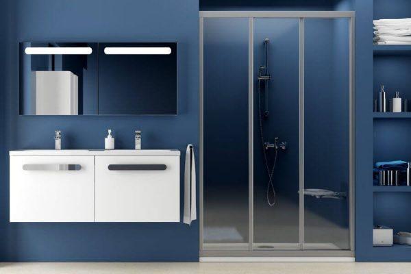 Uşă de duş culisantă, alb+grape, Ravak, ASDP3-90