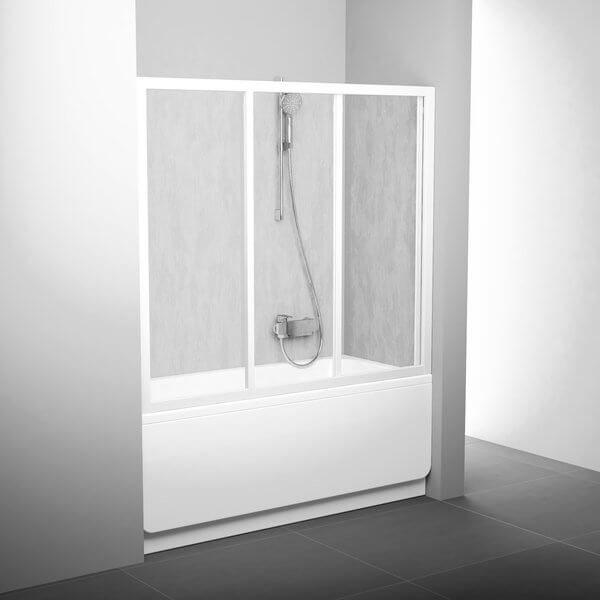 Uşă de duş / paravan cada AVDP3-180 alb+plastic Rain, RAVAK