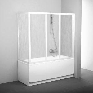 Perete fix de dus pentru cazi APSV, 70 x 137 cm, alb + sticla Transparent
