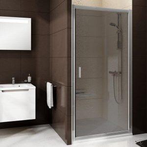 Uşă de duş culisantă din două elemente, alb+transparent, Ravak, BLDP2-100