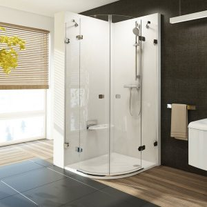 Cabina de dus semirotunda, RAVAK, BSKK4, 100x100 cm, crom+sticla Transparent 8 mm, B SET inclus