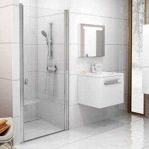 Usă de duş dintr-un element, saten+transparent usa dus, Ravak, CSD1-90