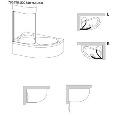 Paravan cadă, RAVAK, EVSK1-75 R ROSA 140 Transparent