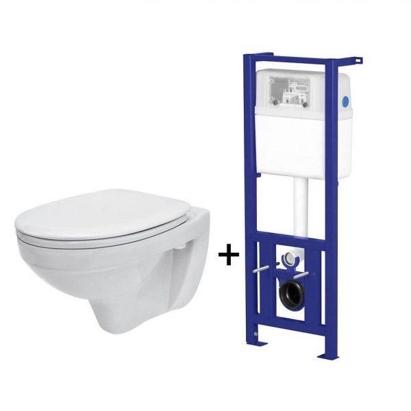 Pachet ALL IN ONE Delfi 47 compus din rezervor incastrat LINK + vas WC suspendat DELFI + capac WC PP Delfi