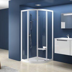 Cabină de duş arcuită din patru elemente, 90cm, cu uşi culisante, Ravak