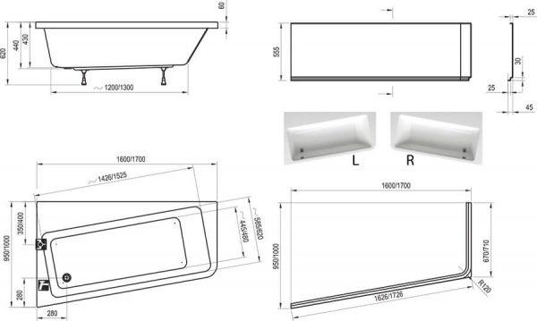 Cada de baie 10, varianta de dreapta, 170x100 , Ravak