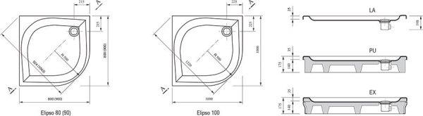 Cadita de dus Elipso, 90 x 90 EX, Ravak