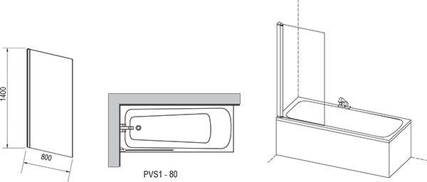 Paravan cada fix, Ravak, PVS1, 80x140 cm, profil alb + sticla transparenta